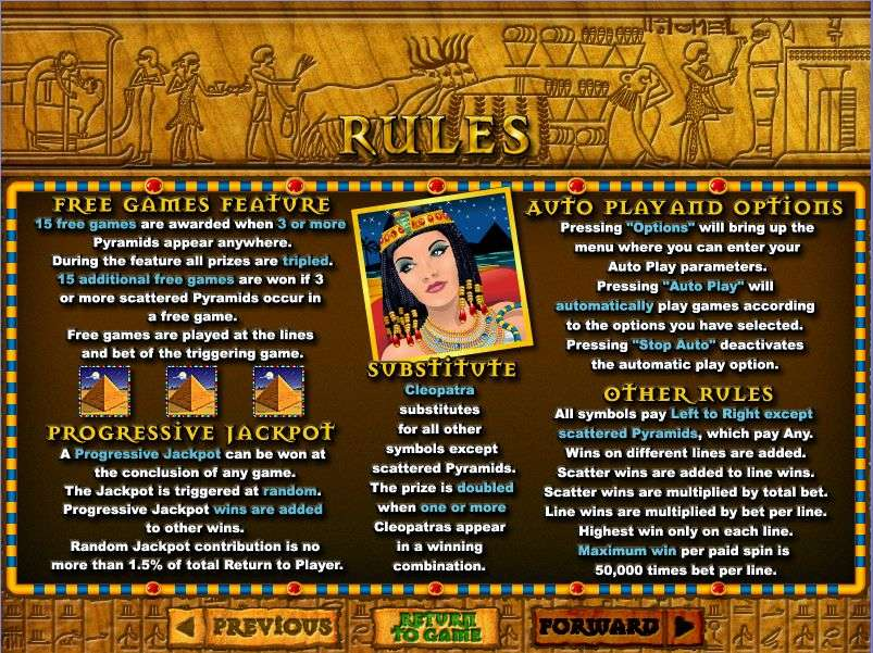 Game Review Cleopatra's Gold