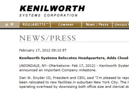 Kenilworth Systems Sets Up In Las Vegas