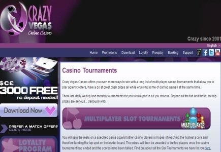 Crazy Vegas Casino brings the October 25k Freeroll to your finger tips
