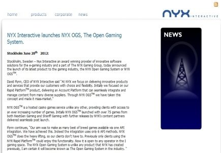 NYX Interactive Receive UK Operating License