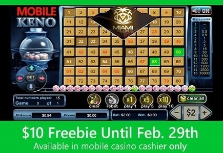Miami Club Introduces Keno to Mobile Casino with $10 Free