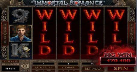 Immortal Romance 1,700 Euro Win
